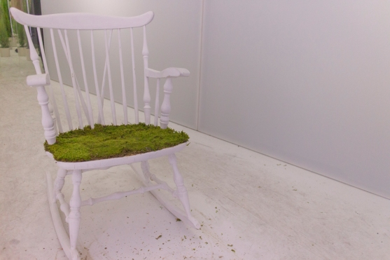 Random chair with moss on it.