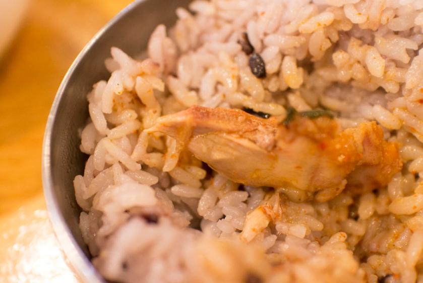 평창할마이집 감자탕 on top of rice