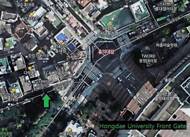 Hongdae Ice cream Waffle  Shack Map