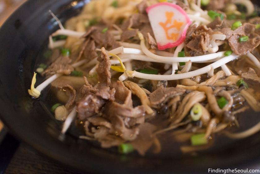 돈텐동식당 Dontendong Shikdang 규니꾸우동 Gyuniku beef udon set Close up